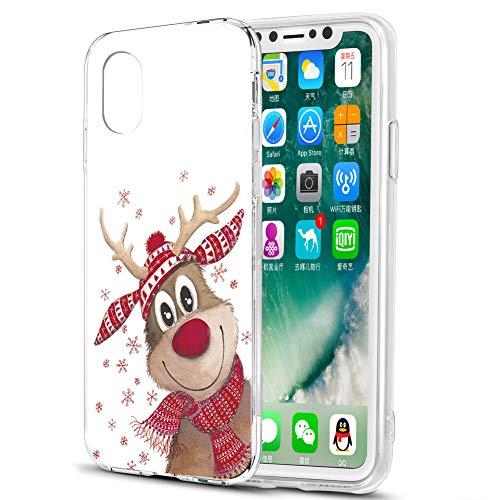 Cover iPhone X, Eouine Custodia Cover Trasparente con Natale Disegni Ultra Slim TPU Silicone Morbido Antiurto 3D Cartoon Bumper Case per iPhone X / 10 Smartphone (Cervi di Natale)