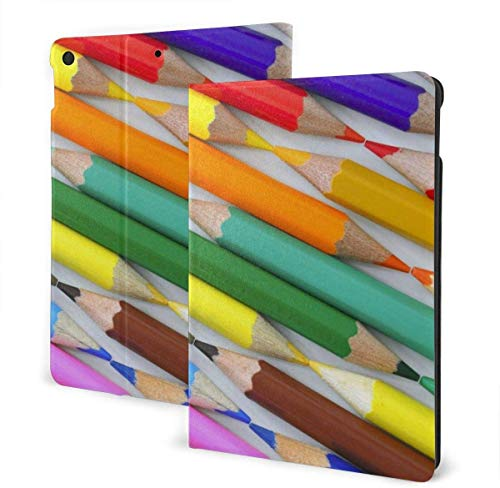 Poker Cards Case for New Ipad 7th Generation 10.2 Inch 2019 Multi-Angle Viewing Folio Smart Stand Cover Auto Wake/Sleep for Ipad 10.2' Tablet-Rainbow Coloful Crayon-One Size