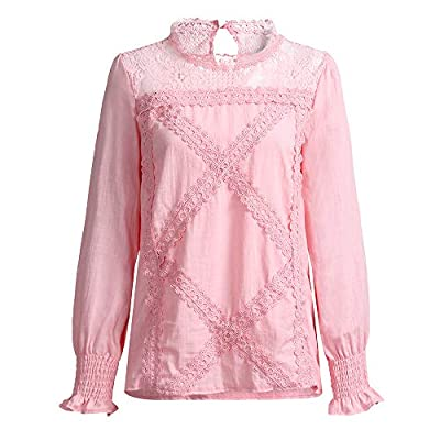 Sufeng Womens Lace Patchwork Flare Ruffles Long Sleeve Cute Floral Shirt Blouse Top