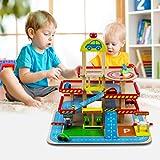 KEEPH Parkgarage für Kinder Parkhaus Holz Parkgarage Spielzeug Polizeiauto Garage Spielzeugmit 4 Auto