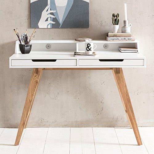 Escritorio SKANDI 110x85x60cm MDF Madera escandinava Mesa de Trabajo de Suelo Blanco | Diseño de la Mesa del Ordenador portátil con Salida de Cable | Vector de la Oficina con Las piernas de Roble