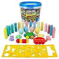 Creative Kids Premium Sidewalk Chalk Art Play Set - Bucket Bundle of Chalk & Educational Game Accessories for Boys & Girls - Includes 30Piece of Chalk, 1 Bucket, 3 Chalk Holders, 5 Stencils