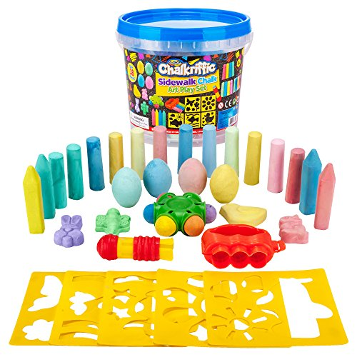Creative Kids Premium Sidewalk Chalk Art Play Set - Bucket Bundle of Chalk & Educational Game Accessories for Boys & Girls - Includes 30Piece of Chalk, 1 Bucket, 3 Chalk Holders, 5 Stencils