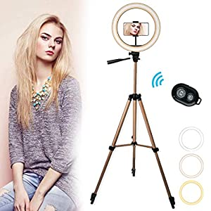 """10"""" LED Selfie Ring Light with 50"""" Tripod Stand & Phone Holder for Makeup Live Stream, Dimmable Camera Light Ring with Remote Shutter for Photography/YouTube Video,with 3 Light Modes by AURUZA"""