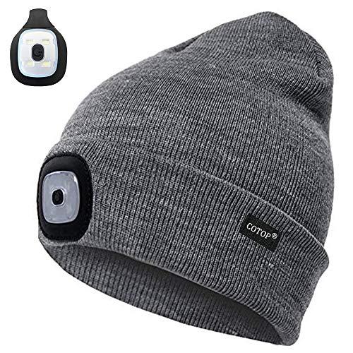 Strickmütze mit Licht, Wiederaufladbar 4 LED Stricken Beanie Winter warmer Mütze Stirnlampe mit 3 Helligkeitsstufen mit 2 Lichtern für Wandern, Laufen, Wandern im Freien, Schnee schippen, Radfahren