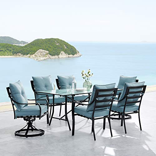 "Hanover LAVDN7PCSW2-BLU Lavallette 7-Piece Ocean Blue with 4 Chairs, 2 Swivel Rockers, and a 66"" x 38"" Glass-Top Table Outdoor Dining Set"
