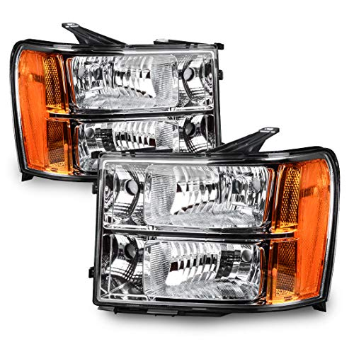 DWVO Headlight Assembly Compatible with 2007-2013 GMC Sierra 1500/2007-2014 Sierra 2500HD 3500 HD Chrome Housing Amber Reflector Clear Lens