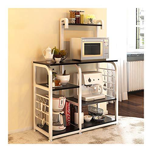 Estante de cocina de acero inoxidable, estantes verticales, estante de almacenamiento de metal, rejilla de horno microondas, rejilla de suelo, rejilla de cocina multifuncional. moderno B marrón