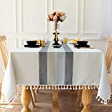 Carvapet Manteles Rectangular Manteles Algodón Lino Mantel Bordado Borla Manteles para Cocina Comedor Mesa Buffet Mantel de la Tabla (Rayas Grises Borla, 140x180CM)