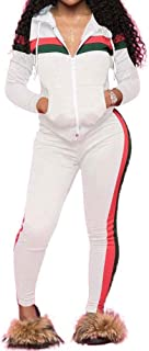 TOP-MAX Women's Sweatsuits, 2 Pcs Velour Stripe Jogging Zipped Hoodie - Fashion Sport Suit & Pants Sports Tracksuits