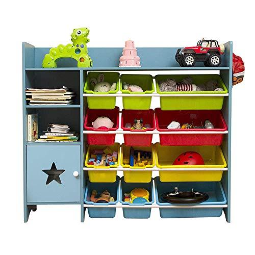 HYY-YY. Rack de Almacenamiento de Juguetes for niños Grandes de Capacidad, 100% Madera, Vestuario de los niños con 12 Cubos de plástico y 1 Caja de almacenaje, Organizador del Juguete de los niños