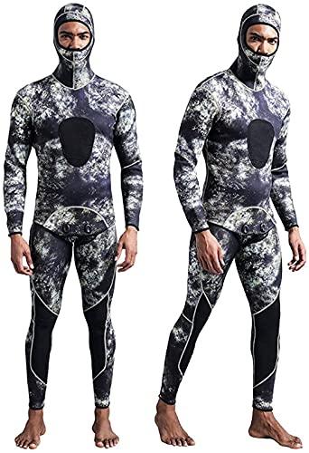 Moda Hombre con Capucha, Camuflaje de 3 mm de Neopreno de 2 Piezas con Trajes de Buceo de Invierno de Invierno para Nadar buceando Snorkeling (Color : Camouflage, Size : S)