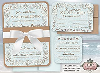 10 Vintage Beach Wedding Invitations Set 5x7 Double Layered with Belly Band & Ribbon