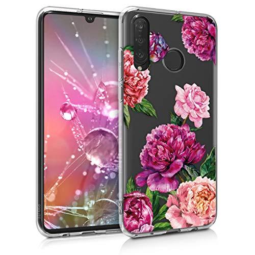 kwmobile Hülle kompatibel mit Huawei P30 Lite - Handyhülle - Handy Case Blumen Mix Pfingstrosen Violett Rosa Transparent