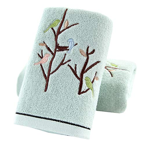 Pidada Hand Towels Set of 2 100% Cotton Bird Tree Pattern Highly Absorbent Soft Luxury Towel for Bathroom 13.8 x 29.5 Inch (Green)