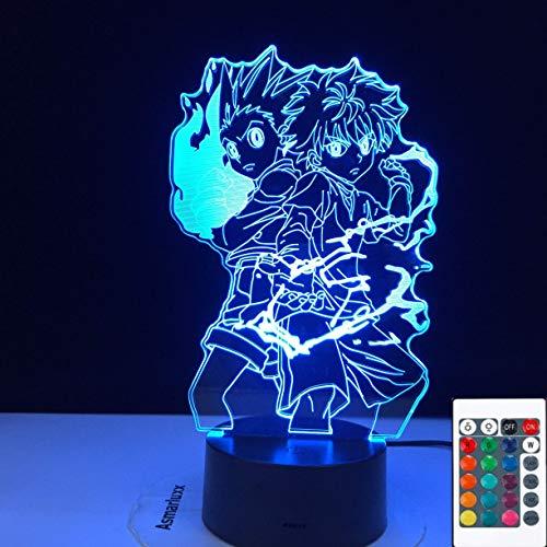 Lámpara de ilusión 3D LED luz nocturna Gon y Killua figura anime Hunter X Hunter para decoración de dormitorio infantil Ing regalo para niños, 7 colores