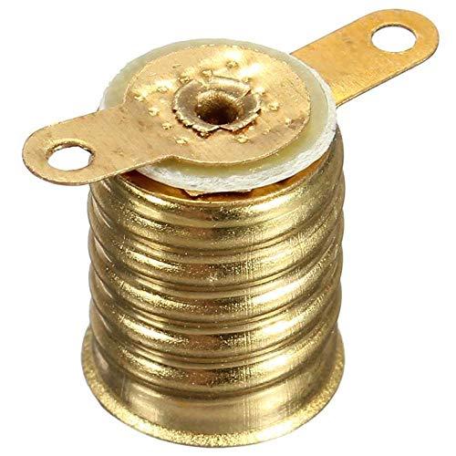 MHGSW E10 Lampensockel, Halter Glühlampenfassung Schraube Gerade Lampenfassung Kupfer Splitter Elektrischer Test Zubehör 10 Teile/los, Gold