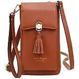 Pearl Angeli RFID Schutz Handy Brieftasche Frauen Kreditkarte Kunstleder Geldbörse mit Tessel Damen Schulter Handytasche für Frauen Orange (Braun)
