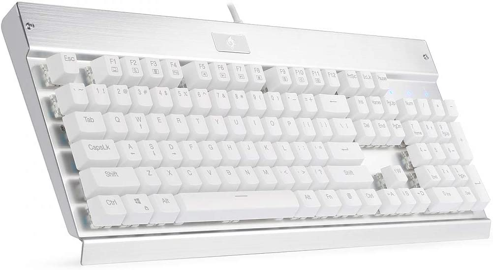 Eagletec KG010 Mechanical Keyboard Wired Ergonomic Brown Switches Equivalent for Office PC Home or Business (White Keyboard Not Backlit)