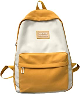 Teenage Students Contrast Color School Bag,Boys Girls Large Capacity Waterproof Nylon Schoolbag, Light Backpack with Wide Shoulder Strap,Yellow