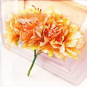 ShineBear 6pcs 4cm Silk Carnations with Gauze Stamen Artificial Flower Bouquet for Wedding Decoration DIY Scrapbooking Fake Flower – (Color: Orange)