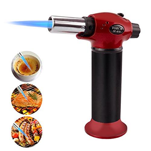 Fixget - Soplete de Cocina de Gas butano, para crème brûlée, Gas butano no Incluido, de Acero Inoxidable, Color Rojo, M