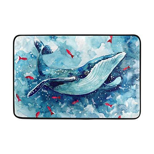 Kcldeci Aquarell-Wal handgezeichnete Badvorleger Fußmatte für den Eingang, rote Fische, Meer, Innenmatte, Fußmatte, Fußabtreter, rutschfest, für Zuhause, Küche, Badezimmer, Büro, 40 x 60 cm