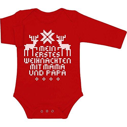 Shirtgeil Mein Erstes Weihnachten Mit Mama und Papa Baby Langarm Body 3-6 Monate Rot