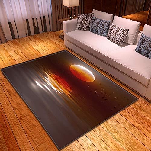 CQIIKJ Alfombra Estampada Marrón Gris Blanco Naranja luz de la Luna Lago Alfombra Antideslizante Alfombra Lavable 60 x 90 cm para la Entrada de casa, baño o Dormitorio