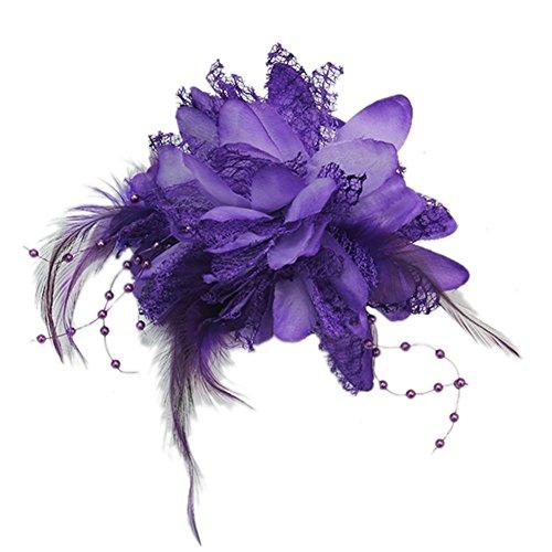 Fleur Plumes Perles poignet corsage Broche Peigne à cheveux Bandeau