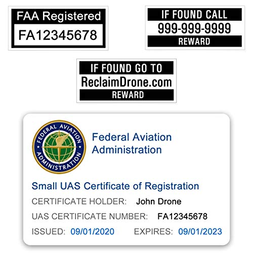 FAA Drone Labels (2 Sets of 3) + FAA UAS Registration ID Card for Hobbyist Pilots - Optional Battery Labels