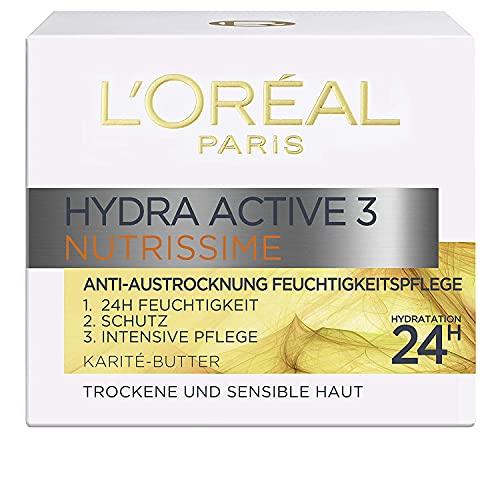 L'Oréal Paris Feuchtigkeitspflege für das Gesicht, Gesichtscreme für sensitive und trockene Haut, Hydratisierende Tagescreme mit Karité Butter, Hydra Active 3 Nutrissime, 1 x 50 ml