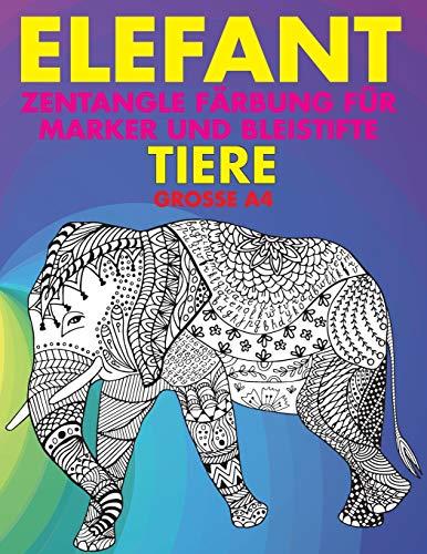 Zentangle Färbung für Marker und Bleistifte - Grosse A4 - Tiere - Elefant