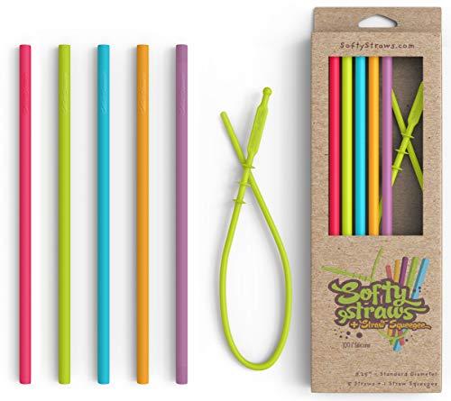 Softy Straws Alimentos Reutilizables Grado Silicona Pajas De Beber (Pitillo Recto Estilo Paquete De 5) + Paja Rasero Herramienta De Limpieza