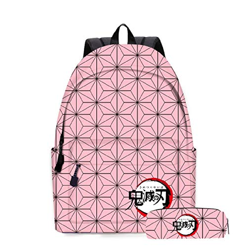 YIMENLR Mochila Escolar De Anime De Dibujos Animados con Bolsa De Lápices, Mochila Demon Slayer para Adolescentes, Niños, Niñas, Viajes Escolares,A