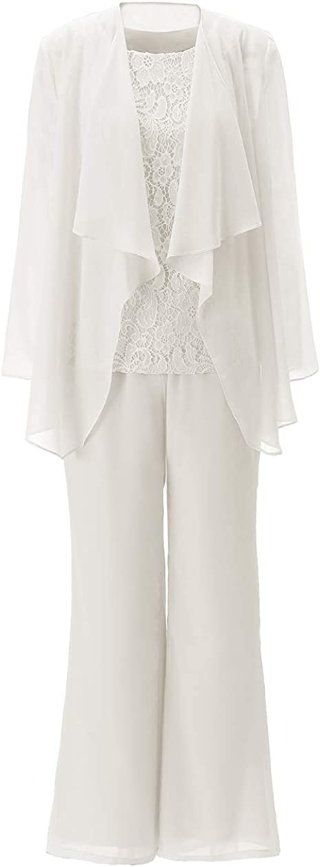 Zeattall Women's Chiffon Lace Mother of The Bride Pant Suits 3 Piece Outfits Formal Womens Evening Dress with Jacket