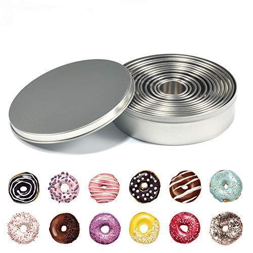 Cake Donuts Moules Set DIY Cuisine Bakeware Rond Biscuit Décoration En Acier Inoxydable Sans Fond Cercle Pâtisserie Moule 12 Pcs