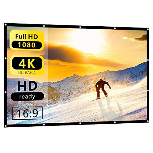 60 Inch 16:9 HD Projector Screen Nell Zimi Portable Foldable Screen Anti-Crease Indoor Outdoor Projector Movies Screen for Home Theater Support Double Sided Projection