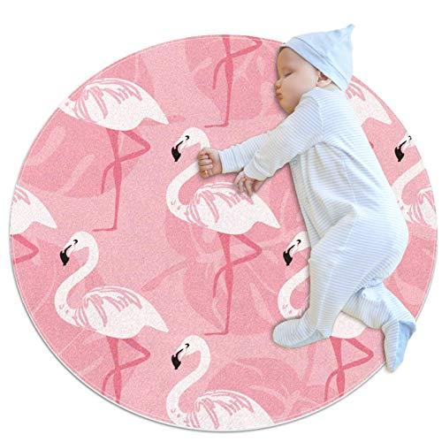 Alfombra lavable niños círculo alfombra niños dormitorio círculo alfombra baño alfombra decorativo baño alfombra tropical rosa flamenco patrón