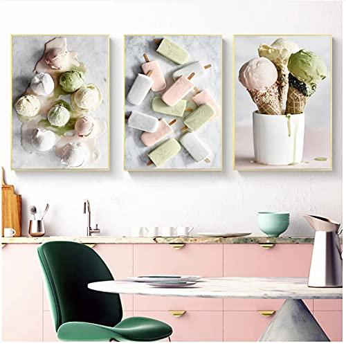 Nordic Delicious Ice Cream Lienzo Pintura Carteles e Impresiones Cuadros de Pared para Cocina Hornear Cafetería Arte de la Pared Decoración del hogar 23.6x31.5in (60x80cm) x3pcs SIN Marco