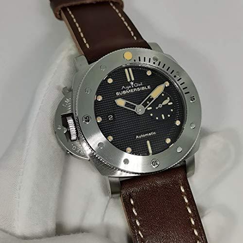 JFfactory Nuevo Reloj de Cuero marrón para Hombre, Cristal de Zafiro, 3 días, mecánico automático, 1950, Relojes para Zurdos de Titanio, 47 mm