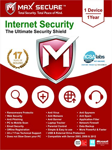 Max Secure Software Internet Security for PC 2019 | Antivirus | 1 Device | 1 Year [PC Online code]