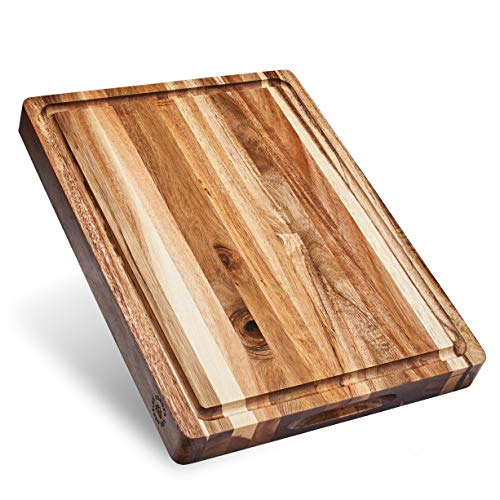 Large Reversible Multipurpose Thick Acacia Wood Cutting Board: 16x12x1.5 Juice Groove & Cracker Holder (Gift Box Included) by Sonder Los Angeles