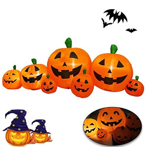 Welltop Halloween Kürbis Halloween Dekoration Selbstaufblasender Kürbis mit LED Beleuchtung für den Garten
