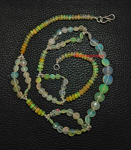 Collar de ópalo etíope llamativo,Plata de ley 925,Multi Flashes Welo Opal Bead Necklace,Perla de forma de mezcla de ópalo, 4-9 mm, filamento de 18 pulgadas