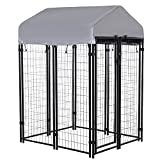 PawHut 4' x 4' x 6' Large Outdoor Dog Kennel Steel Fence with UV-Resistant Oxford Cloth Roof & Secure Lock