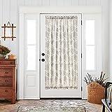 French Door Curtains Paisley Scroll Printed Linen Textured French Door Curtains 72 inches Long French Door Panels Tieback Included 1 Panel Grey on Beige