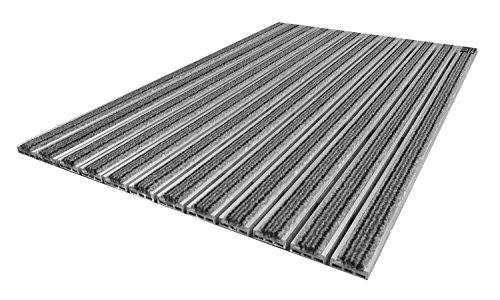 EMCO Eingangsmatte DIPLOMAT 10mm Textilbürste grau Fußmatte Schmutzfangmatte Fußabtreter Antirutschmatte, Größe:590 x 390 mm