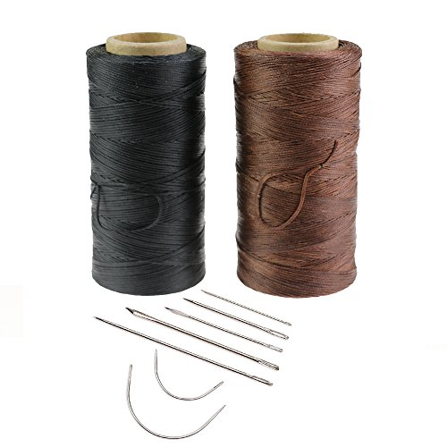 Cordón de hilo encerado para coser de cuero, 2 unidades, 260 m, 150D, 1 mm, con 7 piezas de agujas de coser a mano, para proyectos de manualidades, color negro, blanco, beige, negro y marrón
