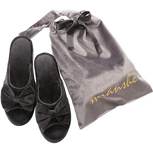 mianshe 【収納袋付き】ヒールスリッパ 高級ベルベット製 ルームシューズ レディース 5cmヒール (~約24.5cmまで),ブラック 黒